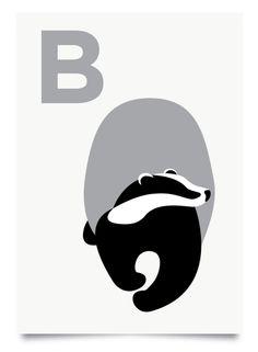 Paul Farrell — B is for Badger print