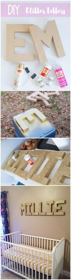 DIY Glitter Letters. A quick way to add a touch of sparkling to your walls with these gold glitter letters!