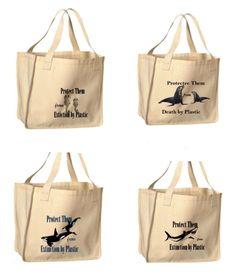 Reusable Shopping Bags-Marine Mammal Prints