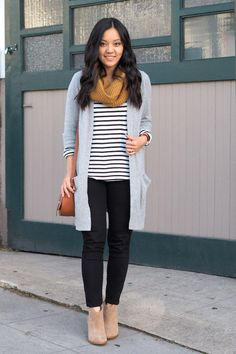 striped tee, gray duster cardigan, camel scarf, black jeans, taupe suede booties