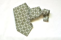 Mens Retro Wide Tie Floral Vintage Olive Green by ArmorOfModernMen, $17.95