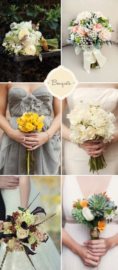 LOVE the top right!!! Perfect color combo!! With grey bridesmaids dresses (short?) and cowgirl boots. I like the top left too and the second row right
