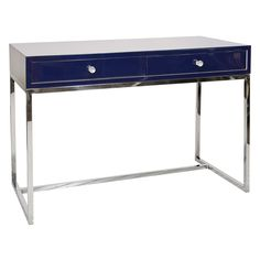 "Worlds Away William Navy Desk @Zinc_Door48""W x 24""D x 32""H Lacquer finish Polished stainless steel base Single drawer operates on gliders Glass knob hardware"
