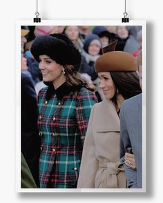 Future sisters-in-law, Catherine, Duchess of Cambridge and Meghan Markle stand outside of church at Sandringham on Christmas Day 2017.