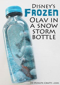 Disney& Frozen Olaf in a snow storm bottle. Maybe we can just do snow storms, without the Olaf, since I doubt most of the kids have seen Frozen yet. Disney Frozen Party, Frozen Themed Birthday Party, Disney Frozen Olaf, Birthday Parties, Birthday Ideas, Disney Frozen Crafts, Frozen Movie, 5th Birthday, Disney Birthday
