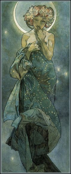Alphonse Mucha.  The Moon and the Stars: study for 'The Moon'.  Ink and watercolour on paper (1902)