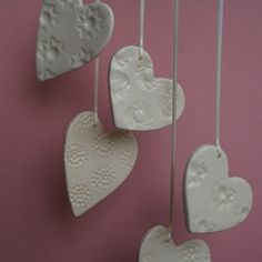 button hearts ~ made with air dry clay