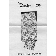 This crochet square pattern, either 8-1/2 or 11 inches, will create lovely cloths or spreads when joined.    The pattern is Laura Wheeler 558, a Mail Order Pattern.  This pattern, in PDF format, is available at Vintage Knit Crochet Pattern Shop