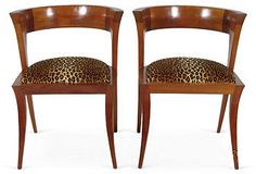mid century modern pair side chairs