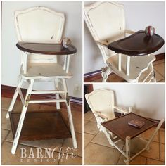 Refinished antique old wooden high chair by Barn Chic Designs. Two toned refurbished high chair in Dark walnut stain- someone make me this please