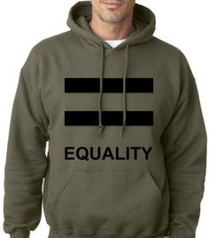 WEDDING GIFT Equality Pride Military Green Hoodie by ForeverLGBTQ