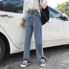 NORMCORE STUDIOS | STREETSTYLE RETRO BLUE BLACK HIGH ANKLE JEANS CROPPED PANTS