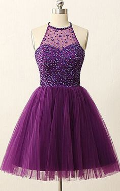 A-line Homecoming Dresses,Purple Homecoming Dresses,Beaded Homecoming Dresses,Backless Homecoming