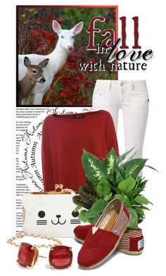 """""""Fall In Love With Nature"""" by queenrachietemplateaddict ❤ liked on Polyvore featuring G-Star, Crea Concept, KLING, TOMS, Kate Spade, autumn, sweaters, redandwhite, deer and wildlife"""