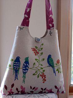 Tote Bag Handbag Purse Handmade Echino - Birdsong - Raspberry