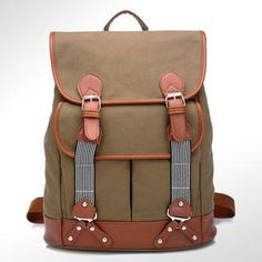 Faux Leather Trim Canvas Backpack from #YesStyle <3 BeiBaoBao YesStyle.com