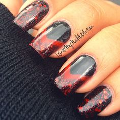 Black and Red Glitter