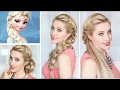Frozen Elsa's side french BRAID, BUN and HALF UPDO hairstyles - YouTube