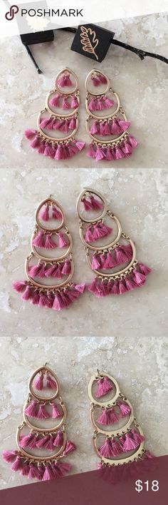 "NEWSmall Pink Tassels Drop Earrings Pink and Gold Small Tassels Drop Earrings  Length 3.75"".  Nickel & Lead compliant. Imported. Available in Black and ivory.    FREE WITH PURCHASE: Cute organza drawstring pouch for storage or for gifting.     Bundle & Save!! 10% 3+ items  No Trades MischkaPu Jewelry Earrings"