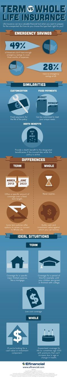 Term vs. Whole Life Insurance | Life Insurance Infographic | Efinancial Life Insurance, Life Insurance tips, #LifeInsurance