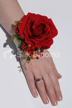 Bridesmaid wrist corsage rose bright red but to be in white when made