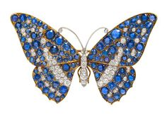 An Important Platinum Topped Gold, Montana Sapphire and Diamond Butterfly Brooch, Marcus & Co