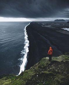 Black beach of Dyrhólaey, Iceland.