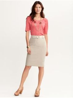 Great outfit - cute colors, adorable sandals, love everything except linen.  Sub in a light tan pencil suit skirt, and I'm set.