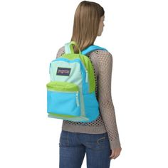 JanSport Overexposed Backpack - Mammoth Blue/Aqua Dash/Zap Green / 16.7   - Click image twice for more info - See a larger selection of blue backpacks at http://kidsbackpackstore.com/product-category/red-backpacks/. - kids, juniors, back to school, kids fashion ideas, teens fashion ideas, school supplies, backpack, bag , teenagers girls , gift ideas, blue