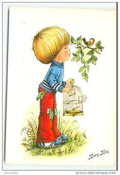 Garçonnet libérant un oiseau de sa cage de Mary May