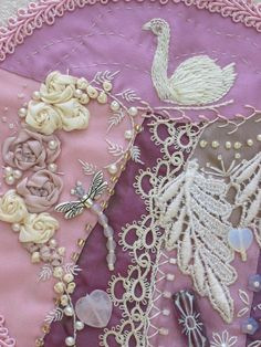 I ❤ crazy quilting, beading & ribbon embroidery . . . Another detail of the pink heart. All embroidery by hand. The bit of tatted lace was done by Great Aunt Marietta's mother. ~By Betty Pillsbury