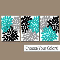 ★Wall Art Artwork Turquoise Black Gray White Flower Burst Dahlia Set of 3 Trio Prints Wall Decor Bedroom Bathroom Three  ★Includes 3 pieces of wall art