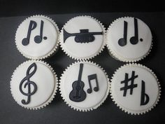 Black-and-White-Music-Cupcakes- KIDS CAN ONLY EAT THE CUPCAKE IF THEY KNOW THE NAME OF THE SYMBOL(S) OR INSTRUMENT(S) THAT IS ON THE CUPCAKE!!!!