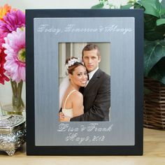 Personalized Engraved Silver And Black Wedding Frame