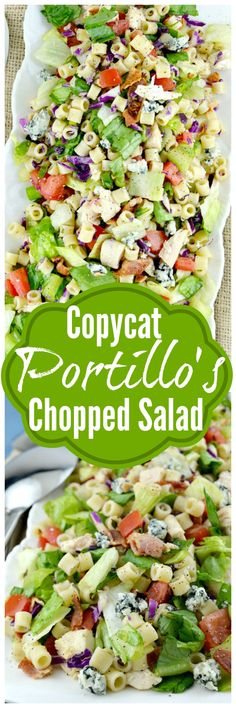 *Portillo's Chopped Salad-this is a copycat recipe just like the delicious restaurant version. Loaded with great veggies, lots of goodies and dressed in a sweet Italian dressing,