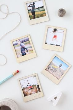 Wooden Polaroid - 15 Colorful DIY Home Decor Projects  I like this idea, maybe lacker over to make coasters
