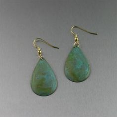 Apple Green Patinated Small Tear Drop Copper Earrings