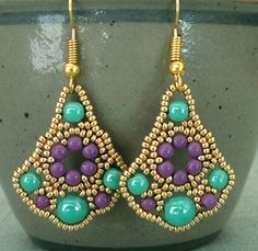 Linda's Crafty Inspirations: Belle of the Ball Earrings - Turquoise & Purple
