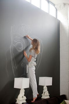 dietcokeandasmoke:    Sacha Pivovarova has chalk walls all around her apartment, where she will just draw and draw and draw……and draw some more
