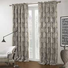 TWOPAGES Zoomtist Premium Collection Country Grey Jacqaurd Rod Pocket Blackout Curtain (One Panel) Multi Size Available Custom Curtains And Draperies, Floral Curtains, Grey Curtains, Blackout Curtains, Pattern Draping, Interior Decorating, Interior Design, Grey Pattern, Curtain Fabric