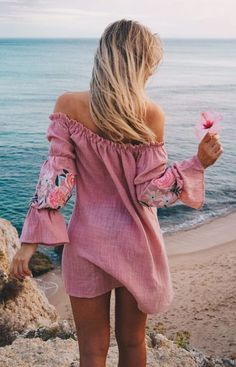 #fall #outfits  women's pink off-shoulder long-sleeved mini dress