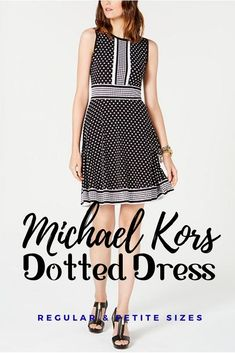Dotted matte jersey knit is trimmed with positive/negative polish at the front tab, waistline and hemline in this border-print dress from Michael Michael Kors.  This is an affiliate link product, any purchase will result in a small compensation to me at no charge to you. #dotteddress #pokedotdress #pokadotdress #michaelkors #michealkors #korsdress #korsfashion #kors Only Fashion, White Fashion, Fashion 2020, Fashion Tips, Fashion Trends, Job Interview Attire, Poka Dot Dress, Unique Formal Dresses, Queen Fashion