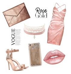 """rose gold"" by mynameisn on Polyvore featuring Gianvito Rossi, Rebecca Minkoff, Charlotte Russe, Lime Crime and Agent 18"