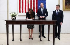 dailymail:  Duke and Duchess of Cambridge visited the US Embassy in London and signed the book of condolence for the victims of the Orlando Shooting, July 14, 2016
