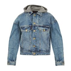2934f397a616 Fear Of God Hooded distressed denim jacket (€770) ❤ liked on Polyvore  featuring