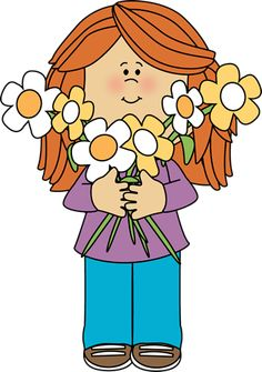 Girl Holding a Bunch of Flowers Clip Art - Girl Holding a Bunch of Flowers Image Cute Clipart, Flower Clipart, Bunch Of Flowers Images, Flower Bouquet Drawing, School Clipart, Classroom Clipart, Smelling Flowers, Spring Images, Clip Art Pictures