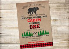 Lumberjack Birthday Invitation Lumberjack 1st Birthday Woodland Invitation