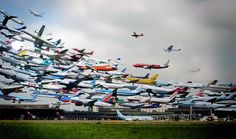 incredible multiple exposure shot by ho-yeol ryu of hundreds of planes taking off at hanover airport. it's a nice way of showing just how busy traffic is in airports ...