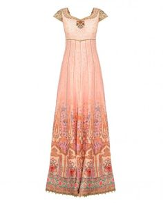 Blush peach anarkali kurta with chevron and floral prints all over. thread embroidery and beads embellishment adorn the sweetheart neckline and cap sleeves. Ivory round beads accentuate the hemline. Fancy pompoms at the back. Wash Care: Dry clean onlyMatching churidar leggings and dupatta includedPadded bustier