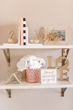 Shelves for Bedroom . Shelves for Bedroom . Pink and Gold Nursery Shelves Pinkteengirlbedroom Bedroom Ideas For Teen Girls, Teen Girl Bedrooms, White Bedrooms, Modern Bedroom, Gold Kindergarten, Gold Shelves, Pink Bookshelves, Bookshelf Styling, White Shelves